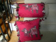 Decorative Red Jakarta Elephant Silk and Burlap Bolster and Square Pillows