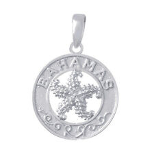 925 Sterling Silver Travel Charm Pendant,  Bahamas On Round with Starfish Center