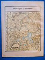 Vintage 1901 YELLOWSTONE, WYOMING Map ~ Old Antique Original Atlas Map 21719