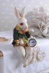 Kantensitzer Tischuhr Kaninchen Kantenhocker Figur Osterhase Hasenfigur Dekohase