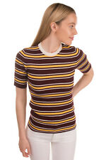 RRP €370 MIU MIU Wool Knitted Top Size 44 / L-XL Striped Ribbed Made in Italy