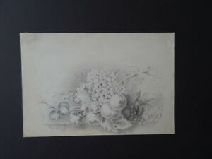 DUTCH SCH. 1861 - STILL LIFE WITH FRUIT AND ROSES SIGN. WISPELWEIJ - FINE PENCIL
