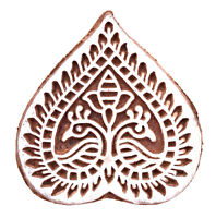 Decorative Indian Wooden Hand Carved Printing Block Textile Stamps Brown Stamp