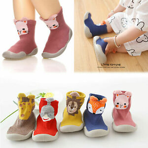 Kids Baby Girl Boys Toddler Anti-slip Slippers Socks Cotton Shoes Winter Warm UK