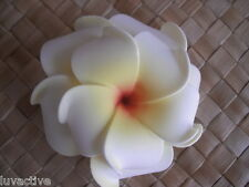 "3"" Hawaiian DOUBLE Plumeria Flower FOAM Hair CLIP White Yellow Weding Bridal NEW"