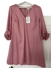 Ted Baker Bow Detail Tunic Dress [US Size 10/12]Dusky Pink 3/4 Sleeve