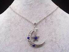 Tibetan Silver Filigree Crescent Moon Blue Diamante Star Necklace.Handmade