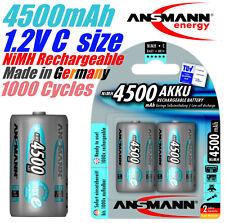 Ansmann 1.2V 4500mAh Baby C NiMH LSD rechargeable battery 1000 Cycles