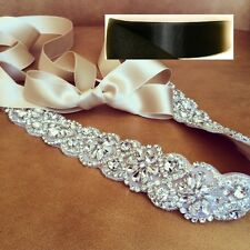 "Wedding Sash Belt, Bridal Sash Belt- Crystal Sash Belt = 19"" long in BLACK sash"