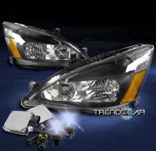 2003-2007 HONDA ACCORD 2/4DR CRYSTAL HEADLIGHTS LAMP BLACK/AMBER W/8000K HID KIT