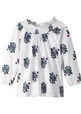 Carmenshirt extraweit Gr. 140/146 Weiß Indigo Bedruckt Mädchen Carmen-Shirt Neu