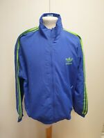 F764 MENS ADIDAS ORIGINALS BLUE GREEN STRIPED TRACKSUIT JACKET UK M EU 50