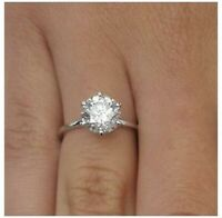14K White Gold Over Diamond Cluster Engagement Ring Sizes  G H I L M N P Q R S T