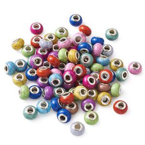 100pc Random Acrylic European Large Hole Beads Rondelle Loose Spacer Beads 14mm