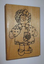 Girl Dress Rubber Stamp Jumper Rachel Curly Hair D.O.T.S. Heart Patchwork 4.5""