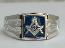Masonry Masonic Blue Enamel Compasses Clear Austrian Crystal Men Ring Size 10
