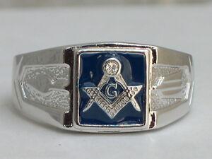 Masonry Masonic Blue Enamel Compasses Clear Austrian Crystal Men Ring Size 9