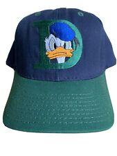 Vintage 1990s Donald Duck Baseball Snapback Hat Cap Green Navy Blue Disney