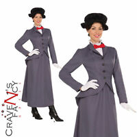 Ladies Womens Adult Nanny Mary Poppins Book Day Week Fancy Dress Costume Outfit