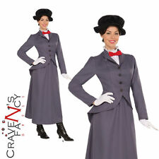 Femme Adulte Nanny Mary Poppins Livre Jour Semaine Fancy Dress Costume Outfit