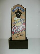 "Beer Open Beer Bottle Opener Wall Decor With Bottle Cap Container 14""x 5 1/2"""