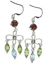 Garnet Peridot Blue Topaz Gemstone Dangle Sterling Silver Earrings