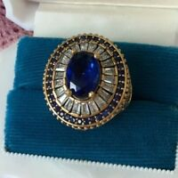 Antique Vintage Sterling Silver Blue White Sapphire Ring size T Gold Accents