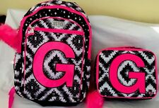 """Nwt Justice Geo Tie Dye Initial """"G""""Backpack & Lunch Tote"""