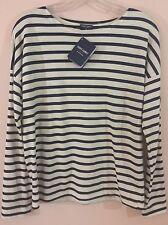 NWT Saint James für J. Crew lässigen T-Shirt Streifen ecru/marine XS Ausverkauft