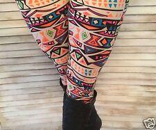 Aztec Navajo Tribal Leggings Stretch Lounge Pants Juniors Cream Neon Orange OS