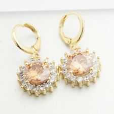 Exquisite Yellow Gold Filled Blue Clear Zirconia  Drop Earrings Gift Box Pack