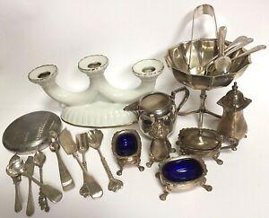 Antique Bulk Lot 23 Silver Plate Cutlery Vintage Cruet Sugar Tongs Strachan