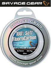 (1,00€/1m) Savage Gear Soft Fluorocarbon Schnur 0,74mm 20m 28,7kg, Vorfach