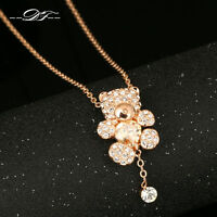 Cute Bear Love Hearts Crystal Necklaces & Pendants 18K Rose Gold Plated Jewelry