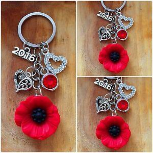 Red Poppy Flower Gift Keyring -