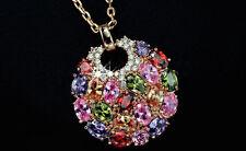 Gorgeous 14k Rose Gold GP Pendant Necklace made w/ Swarovski Multicolor Crystal