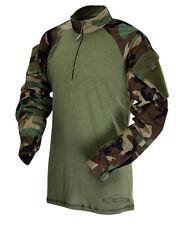 TRU-SPEC 2545 Woodland Olive Drab Camo Combat Uniform Shirt - LARGE REGULAR