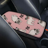 Adroable Pink Car Console Armrest Cushion Pad Pug Pattern Auto Interior Covers