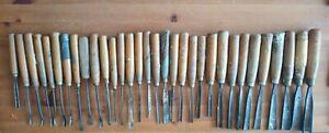 32 Vintage Wood Carving Chisels