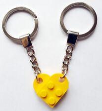 LEGO giallo Amore Cuore PORTACHIAVI PORTACHIAVI SAN VALENTINO DONO Regalo di Compleanno NUOVO