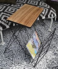 Design Beistelltisch Zeitungsständer mit Ablagefläche klappbar schwarz Metall