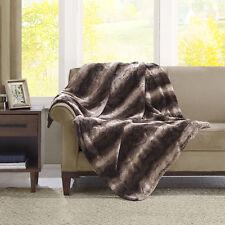 BEAUTIFUL ULTRA SUPER SOFT LUXURY PLUSH WARM & COZY FAUX FUR BROWN THROW BLANKET