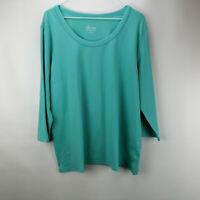 Denim & Co. Essentials 3/4 Sleeve Round Neck Top True Turquoise XL A213779