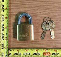 "Corbin Padlock Brass 1-3/4"" with Hardened Steel Shackle 2 Key Model 906 USA Made"