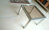 Table bout de canapé 1970, Chrome Et Laiton style Willy Rizzo