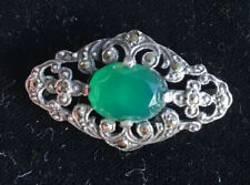 Authentic, Art Deco Sterling Silver, Marcasite & Natural Chrysoprase Brooch Pin.