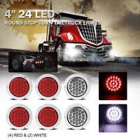"6PCS 4"" Red White 24 LED Round Rear Stop Brake Tail Light For Peterbilt Kenworth"