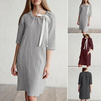 UK Womens Straight Skirt Cotton Dress Ladies Holiday Beach Casual Loose Sundress