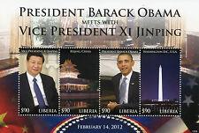 Liberia 2012 MNH Barack Obama Meets Vice President Xi Jinping 4v M/S Stamps