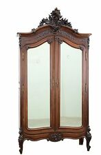 Antique French Louis XV Style 2 Door Armoire Wardrobe Cabinet
